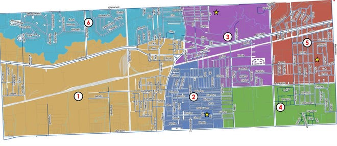 A map of the current wards in the City of Wayne. Voters will decide in November the future of the ward system in the six-square-mile city.