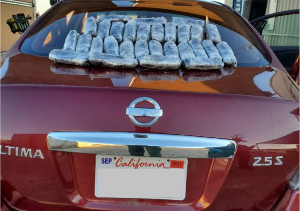 Border Patrol agents found nearly 30 pounds of narcotics hidden behind the dashboard of this Nissan in early October near the Salton Sea.