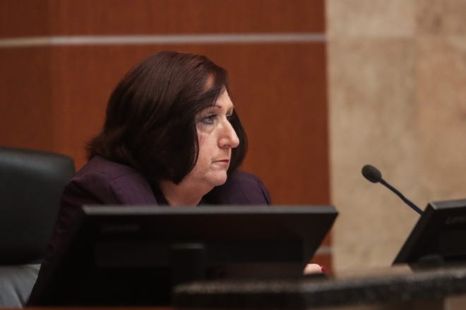 Riverside County Board of Supervisors Vice Chairman Karen Spiegel listens to public comment during a meeting on Tuesday, October 6, 2020, in Riverside, Calif.