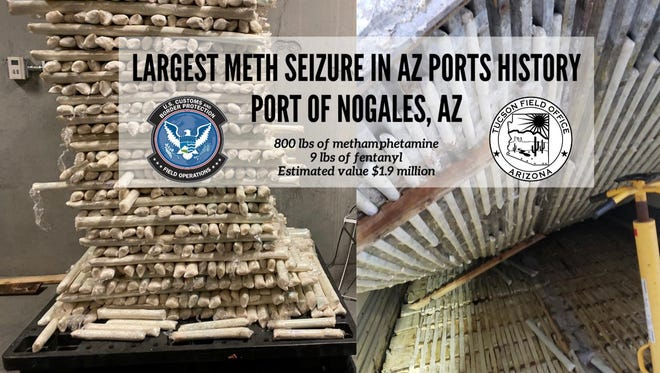 800 pounds of methamphetamine and 9 pounds of fentanyl found by U.S Customs and Border Secrutiy officers at Port of Nogales. This is the largest seizure of meth by the Arizona ports.