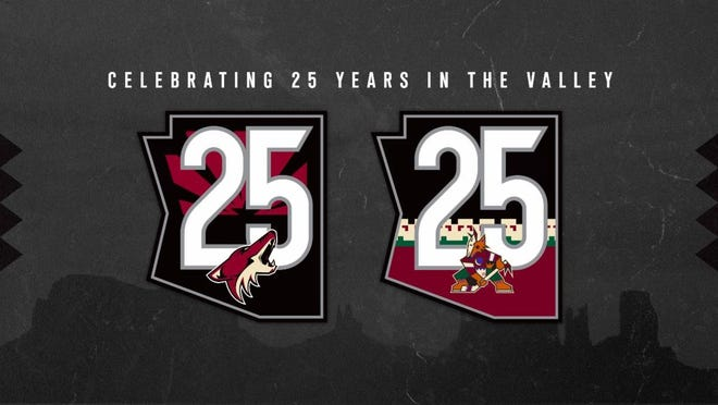 Arizona Coyotes' 25th anniversary logos that will be used during the 2020-21 NHL season.