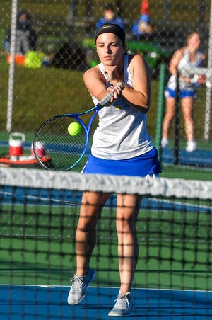 Julie Rubelmann of Kennard-Dale returns the ball to West York's Lexi Sanderson during the #3 seed singles match, Monday, October 5, 2020.John A. Pavoncello photo