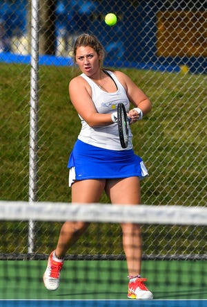 Kennard-Dale's Brianna Serruto, seen here in a file photo, advanced to the semifinals of the York-Adams League Girls' Tennis Class 2-A Doubles Championships, along with her partner Grace Maccarelli.