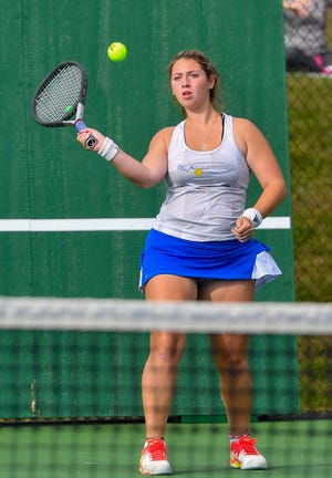Brianna Serruto, seen here in a file photo, earned a win at No. 1 singles on Wednesday for Kennard-Dale.