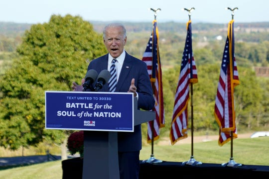 Democratic presidential candidate former Vice President Joe Biden speaks at Gettysburg National Military Park in Gettysburg, Pa., Tuesday. (AP Photo/Andrew Harnik)