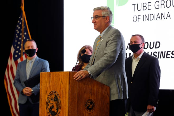 Indiana Gov. Eric Holcomb talks about Phillips Tube Group's decision to come to Richmond during a grand opening celebration on Tuesday, Oct. 6, 2020.