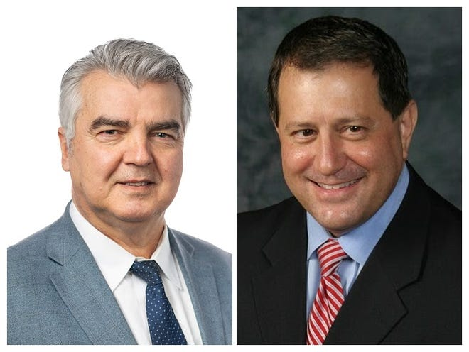 Republican George Mitris, left, and Democrat Joe Morelle, right, candidates for NY-25 in 2020.