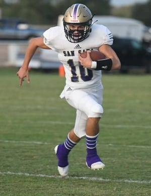 San Saba High School's Wesley Lackey (10) looks for yardage against Mason in a nondistrict football game Friday, Sept. 11, 2020, in Mason.