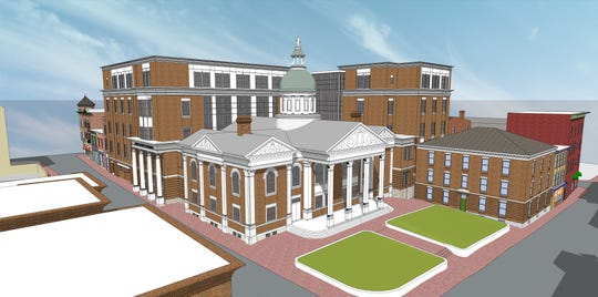 The new proposed Augusta County Courthouse renovation, which will take nine of the surrounding buildings and incorporate it into the new complex. This plan needs to be approved by the City of Staunton's Historic Preservation Commission.