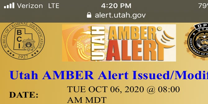 Amber Alert Issued For 6 Year Old Girl Abducted In Park City