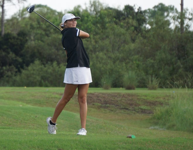 Sebastian River junior Kayla Martellotti hits her tee shot on the seventh hole at the Champions Club at Summerfield during the Treasure Lake Conference Championship on Monday, Oct. 5, 2020.