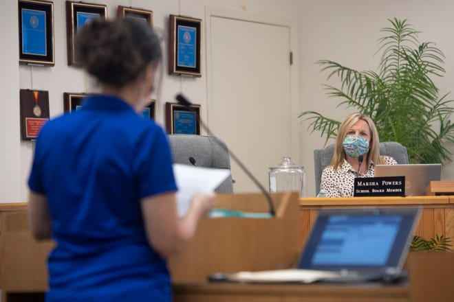 Martin County School Board member Marsha Powers listens to a public commenter who supports the board proclaiming October as LGBTQ+ History Month during a meeting Tuesday, Oct. 6, 2020, in Stuart.