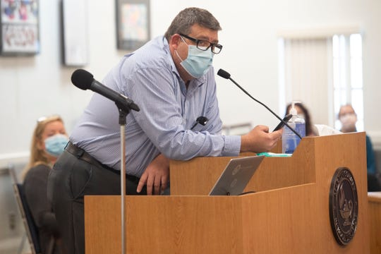 Robert Griggs of Jensen Beach, Fla., speaks up for his transgender son during a Martin County School Board discussion regarding a proposal to slate October as LGBTQ+ History Month on Oct. 6, 2020.