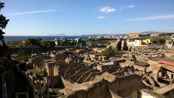 Herculaneum was buried by ash during the volcanic eruption in AD 79.