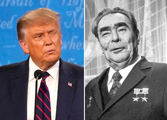 President Donald Trump and the late Soviet leader Leonid Brezhnev