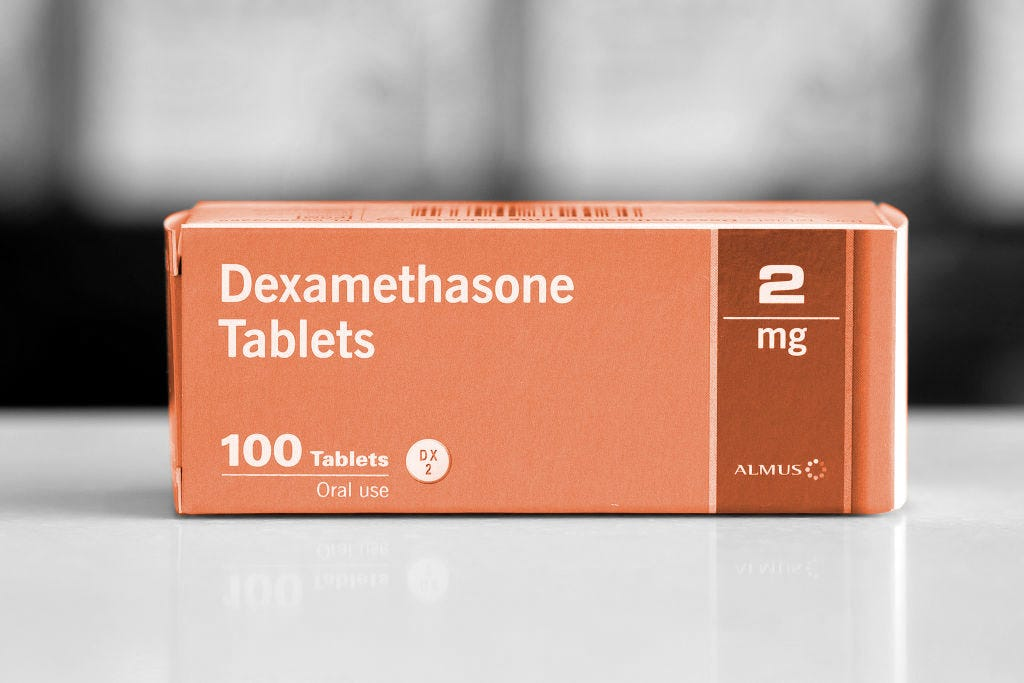 CARDIFF, UNITED KINGDOM - JUNE 16: In this photo illustration, a close-up of a box of Dexamethasone tablets in a pharmacy on June 16, 2020 in Cardiff, United Kingdom. Results of a trial announced today have shown that Dexamethasone, a cheap and widely used steroid drug which is used to reduce inflammation, reduced death rates by around a third in the most severely ill COVID-19 patients who were admitted to hospital. Researches have predicted 5,000 lives could have been saved had the drug been used to treat patients in the UK at the start of the pandemic.(Photo by Matthew Horwood/Getty Images)