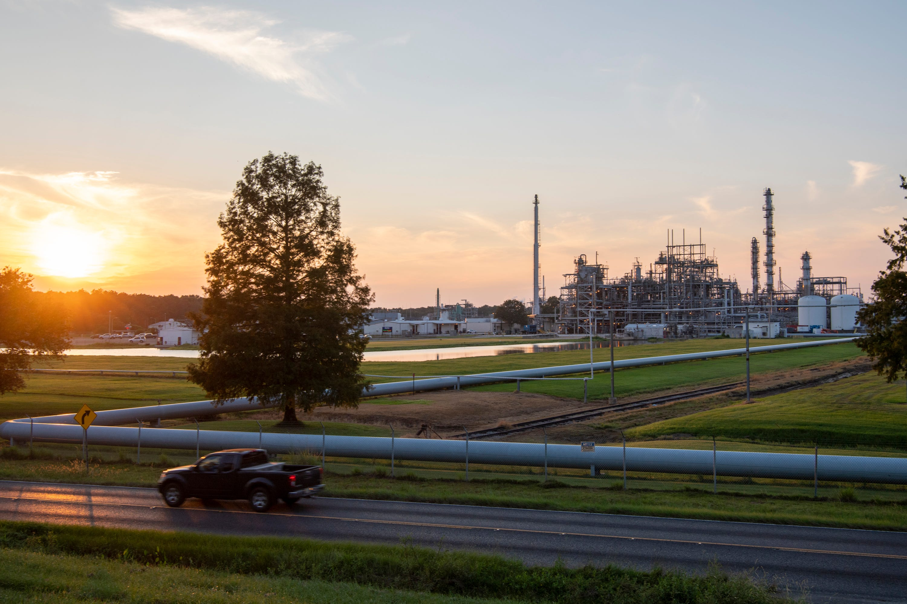 The Denka Performance Elastomer neoprene plant sits just a few hundred yards from the residential streets of Reserve, La.