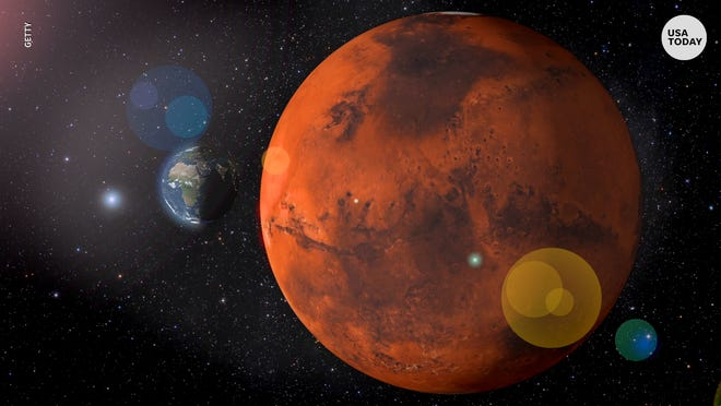 Mars sits in opposition to the Earth in the closest orbit to Earth until 2035.