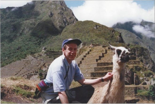 Dennis Jett in the 1990s at Machu Picchu, the site of ruins of an ancient Incan city in Peru.