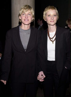 "Anne Heche, right, and Ellen DeGeneres in 2000. Heche talked about her relationship with DeGeneres on ""Dancing With the Stars."""