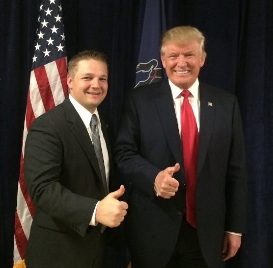 Pa. state Rep. Aaron Bernstine with President Donald Trump.