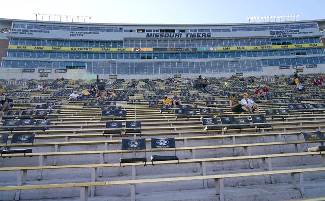 A general view of the socially distant seating arrangement for fans is seen before a game between Alabama and Missouri on Sept. 26.