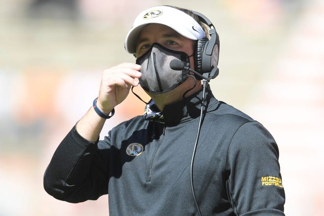Missouri head coach Eli Drinkwitz watches during a game between Tennessee and Missouri on Saturday at Neyland Stadium in Knoxville, Tenn.