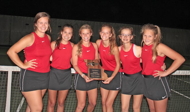 The 2020 Chillicothe (Mo.) HS tennis Lady Hornets repeated as district champions Tuesday (Oct. 6) when they rallied to nip the visiting Trenton Lady Bulldogs, 5-4. The triumph sends CHS' team on to next Monday's or Tuesday's sectional-tournament portion of the Class 1 state tournament. The CHS players responsible for delivering the district-finals win are, from left, Olivia Anderson, Cami Carpenter, Delaney May, Megan Sisson, Leah Lourenco, and Rylee Washburn.