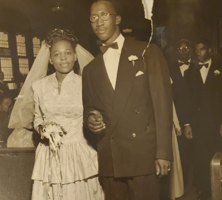 A wedding day photograph of Ann and Linwood Walker, who had a home together on Jefferson Avenue, which was later razed.