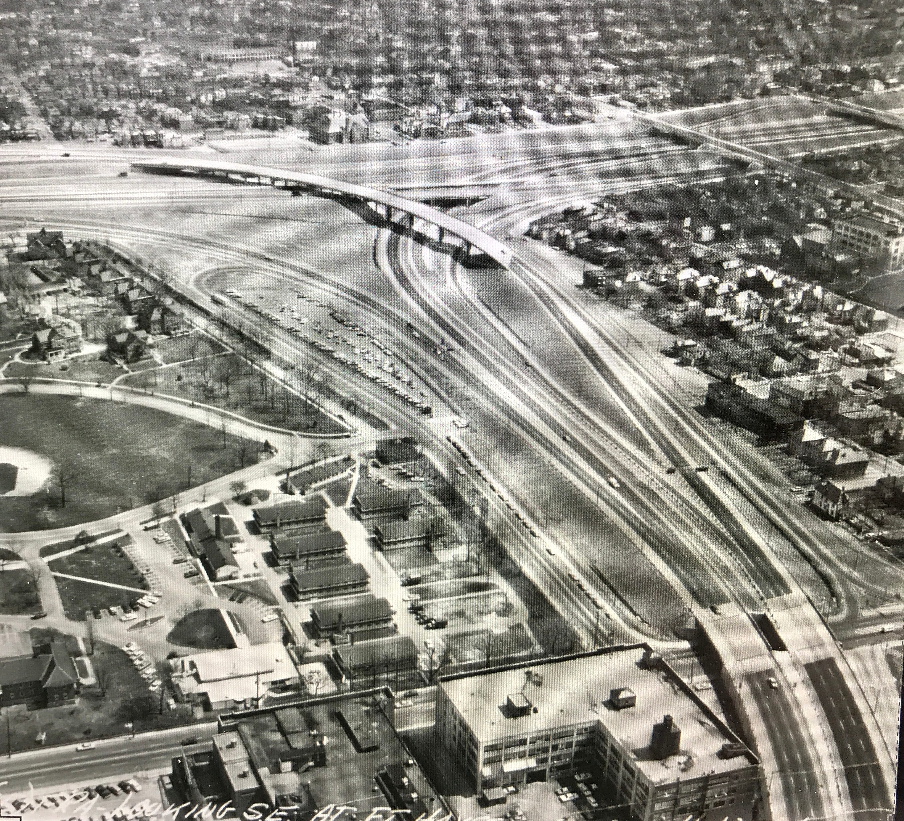This historical photo of the I-71 and I-670 interchange shows where Ann Walker had a Jefferson Avenue home before it was destroyed for freeway construction.