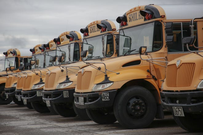 Columbus City school buses parked on Tuesday, August 13, 2019 at the Moler Transporation Services Center in Columbus, Ohio. [Joshua A. Bickel/Dispatch]
