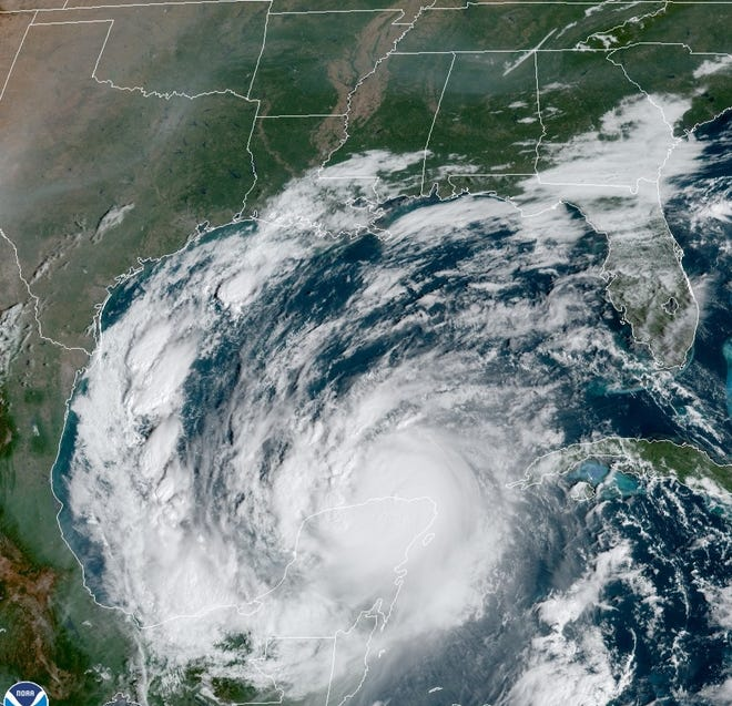 Hurricane Delta approaches the Gulf of Mexico.