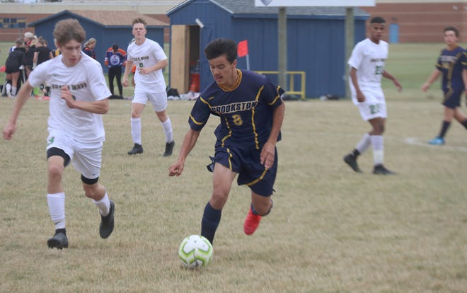 Alex Longoria dribbles during Crookston's 6-0 loss to East Grand Forks Tuesday.