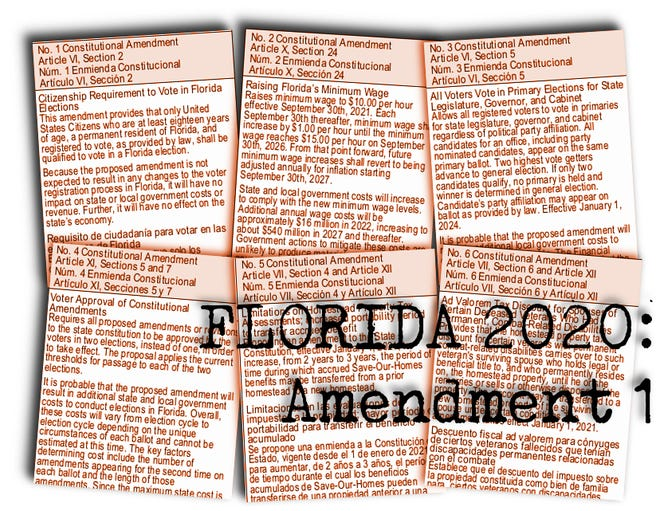 Florida's proposed constitutional amendments for 2020: Amendment 1 would tweak two words, and change nothing, in the requirement to be a citizen before voting.