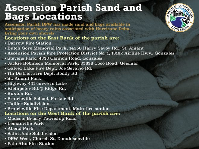 Ascension Parish sand and bags locations.
