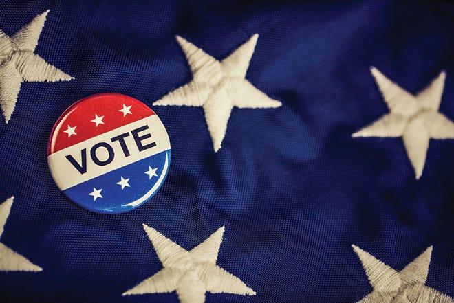 Vote button, flag.