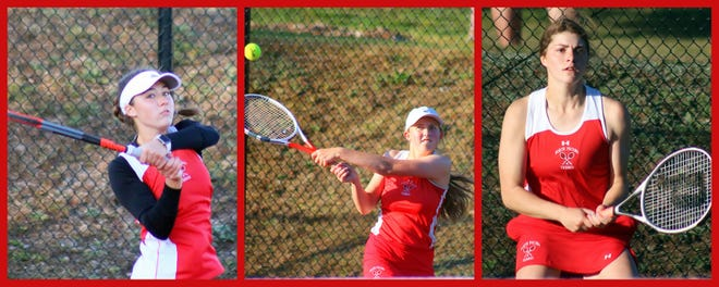 Senior Natalie Deal at first singles, along with juniors Parri Salak and Julie Schriber, at second and third singles, respectively, are some of the vital components to North Pocono's successful season.