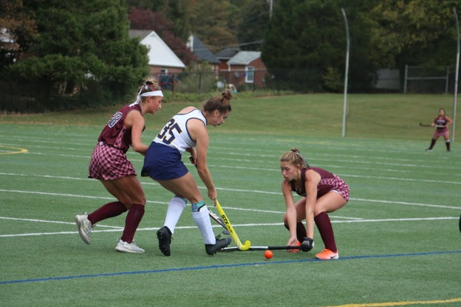 Greencastle-Antrim's Kiersten Britner went for the ball during Monday's varsity field hockey game against Shippensburg. Shippensburg won 2-1 in the overtime matchup. ANDREW JACKSON/G-AHS YEARBOOK STAFF