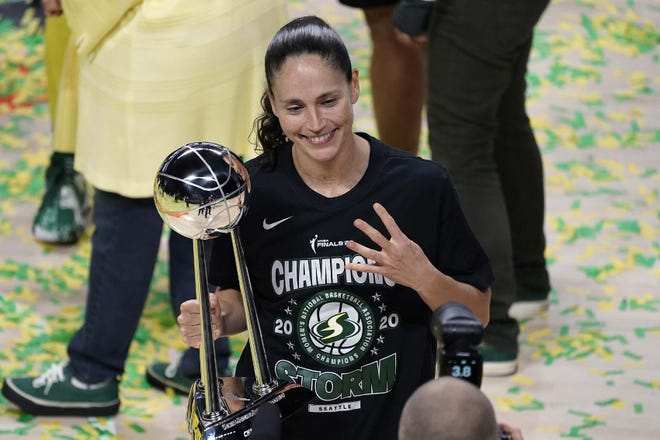 Seattle Storm guard Sue Bird poses for a photo after the team won the 2020 WNBA Championship Tuesday in Bradenton, Florida. [CHRIS O'MEARA]