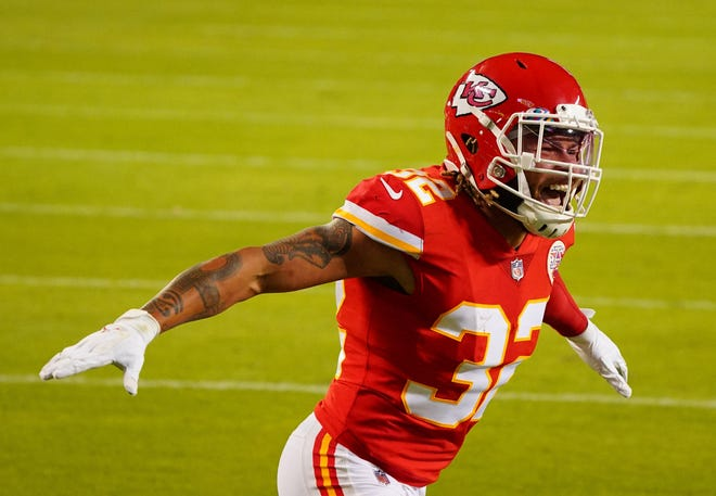 Kansas City Chiefs safety Tyrann Mathieu celebrates after breaking up a pass in Monday's win over the New England Patriots.