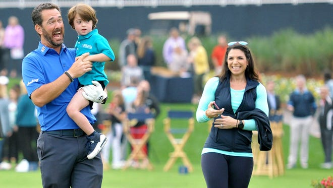 PGA Tour caddie Paul Tesori of St. Augustine and his wife Michelle, with their son Isaiah, have conducted a series of clinics through their Tesori Family Foundation. The next one will be Monday at the TPC Sawgrass.
