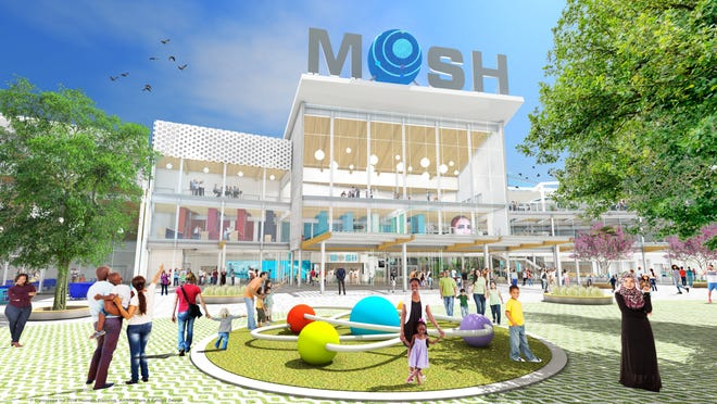 A rendering shows the proposed main entrance and riverfront park of MOSH's planned $80 million expansion.