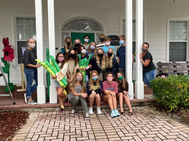 """Members of the Atlantic Beach Youth Council created a """"Wizard of Oz"""" Halloween display at Adele Grage Cultural Center, to support Community Hospice PedsCare program."""