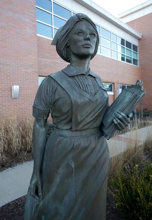 The nursing statue was dedicated at the hospital after the final class of the School of Nursing graduated in 1986. The statue at the former Affinity Medical Center may be donated Thursday during a meeting of the city's Community Improvement Corporation. (IndeOnline.com / file photo)