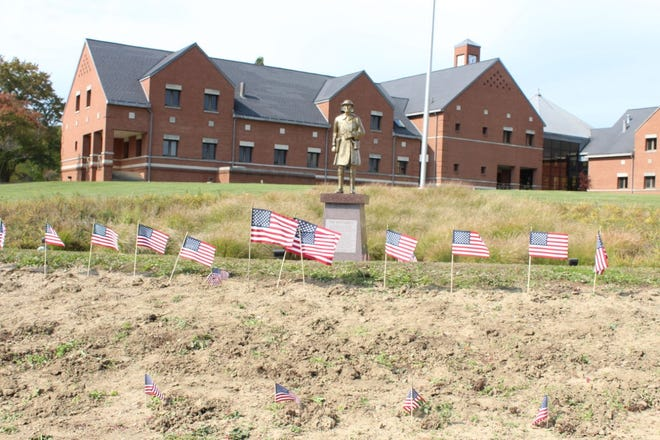 Stow residents can plant flags in front of the Doughboy at City Hall to honor veterans.