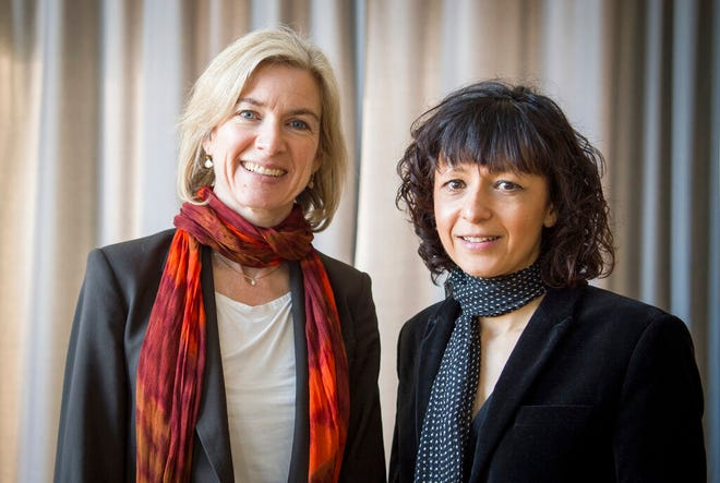 """In this March 14, 2016, file photo, American biochemist Jennifer A. Doudna, left, and the French microbiologist Emmanuelle Charpentier, right, poses for a photo in Frankfurt, Germany. French scientist Emmanuelle Charpentier and American Jennifer A. Doudna have won the Nobel Prize 2020 in chemistry for developing a method of genome editing likened to """"molecular scissors"""" that offer the promise of one day curing genetic diseases."""