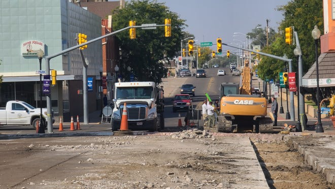 The section of Third Street between Colorado Avenue and Raton Avenue is blocked to traffic as La Junta street crews work to repair the road.
