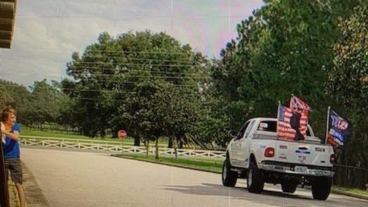 Marion County Public Schools counseled a transportation employee who drove his truck with political messaging, which included a flag supporting President Donald Trump's election, around the Belleview Middle School parking lot. [Submitted photo]