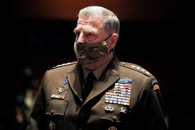 Army Gen. Mark Milley, the chairman of the Joint Chiefs of Staff, is one of the senior military leaders now quarantining as a result of possible exposure to the coronavirus. [Greg Nash/Pool via AP]