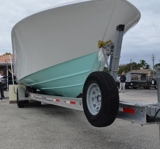 The Talley Girl, which struck Carter Viss last Thanksgiving Day, photographed at a Florida Fish and Wildlife Conservation Commission lot in December 2019.